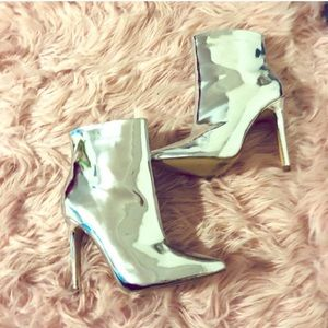 ASOS metallic silver booties size 6